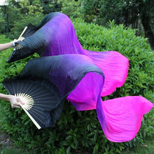 4deb6cf25 New Arrivall (1pc Left +1pc Right) 180cm Belly Dancing China Real Silk Fan  Veils Stock Silk Fans Black + Purple + Fuschia