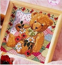 Embroidery Package High Quality Cross Stitch Kits Bear with Flowers In Flower Weath Free shipping(China)