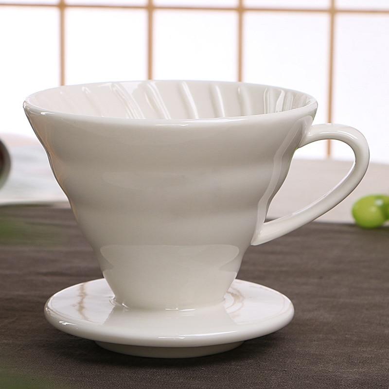 V60 Style café goutte à goutte filtre tasse permanente verser sur la cafetière avec support séparé en céramique café goutteur moteur