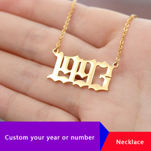 Personalized Custom Old English Number Necklace Collier Jewelry Accessories Year Choker Necklaces Pendents For Men Women