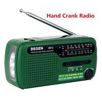 Original DEGEN DE13 FM SW Hand Crank Radio Dynamo Solar Power Emergency Radio World Band Receiver