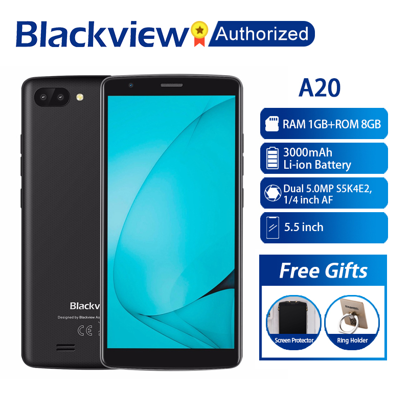 NEW BLACKVIEW A20 Android GO Smartphone Dual Rear Camera MTK6580M Quad core 1GB RAM 8GB 5.518:9 Cellphone 3000mAh GPS 3G Mobile