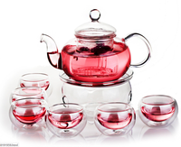 Borosilicate Glass Tea Pot Set, Infuser Teapot+Warmer+6 Double Wall Tea Cups