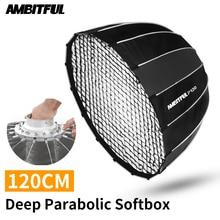 Портативный AMBITFUL P120 120 см, быстрая установка, глубокий параболический софтбокс с сотовой сеткой, вспышка Bowens Speedlite, софтбокс