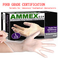 disposable PVC gloves Transparent latex rubber laboratory medical food gloves without powder 100pcs AMMEX free shipping