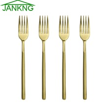 JANKNG 4 Pcs/Lot Heavy Duty Dinner Fork Flatware Set Gold Stainless Steel Dinnerware Fork for Dinner Salad Dessert  Fruit Fork