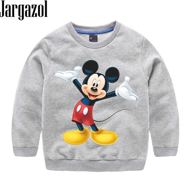Jargazol Toddler Boy Clothes Baby Girl Sweatshirts Children Cartoon mickey Printed Autumn Spring Cotton Tops Kids Sweatshirt