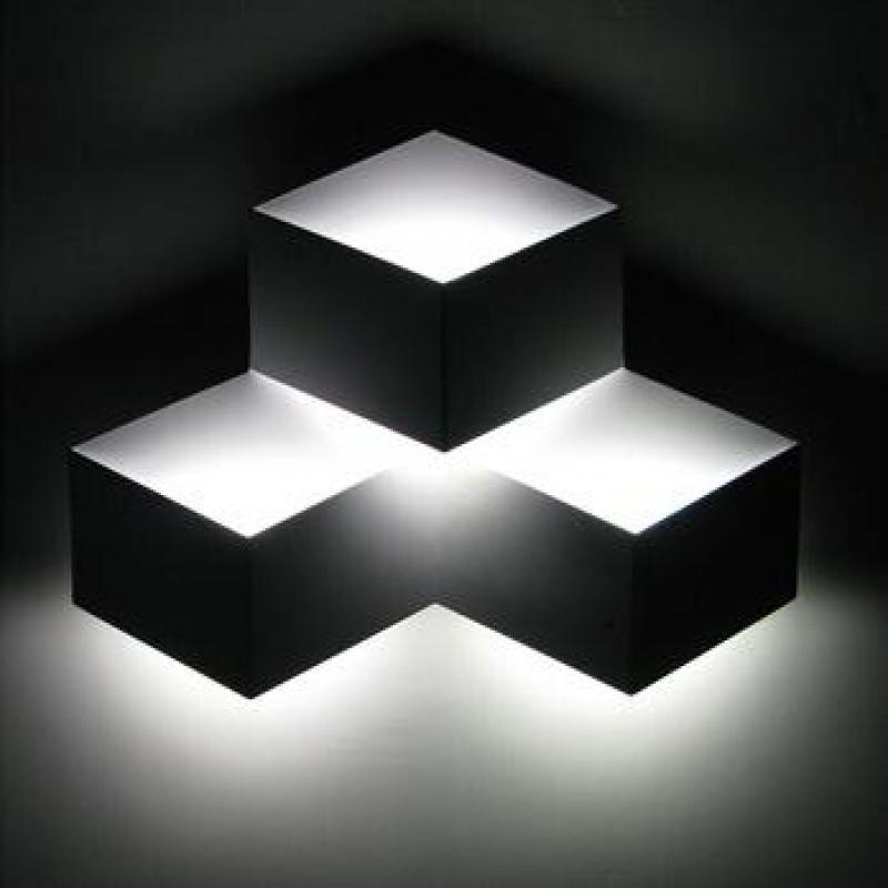 3 Heads 9w Magic Led Wall Light Aluminum Stereo Rhombus Ice Cube 3d Wall Lamp Geometry Square Grid Box Indoor Lighting 1823