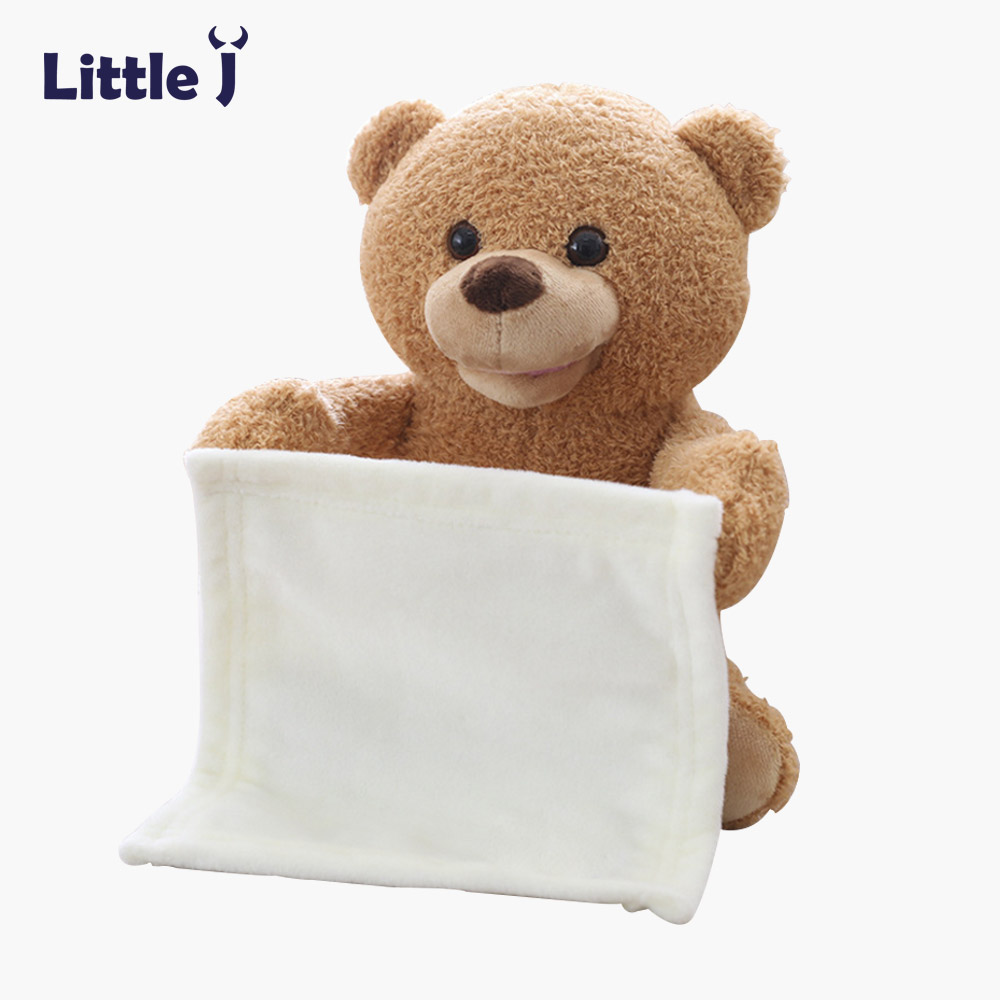 Baby Hide And Seek Bear Toys Kids Boys Girls Stuffed Plush Cartoon Animal Toy Children Handkerchief Musical Playing Bear Doll hide and seek