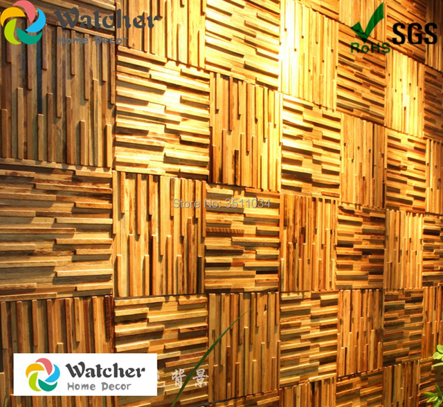 1box 13pieces wood wall panel wood strip art boatwood mosaic tile ...