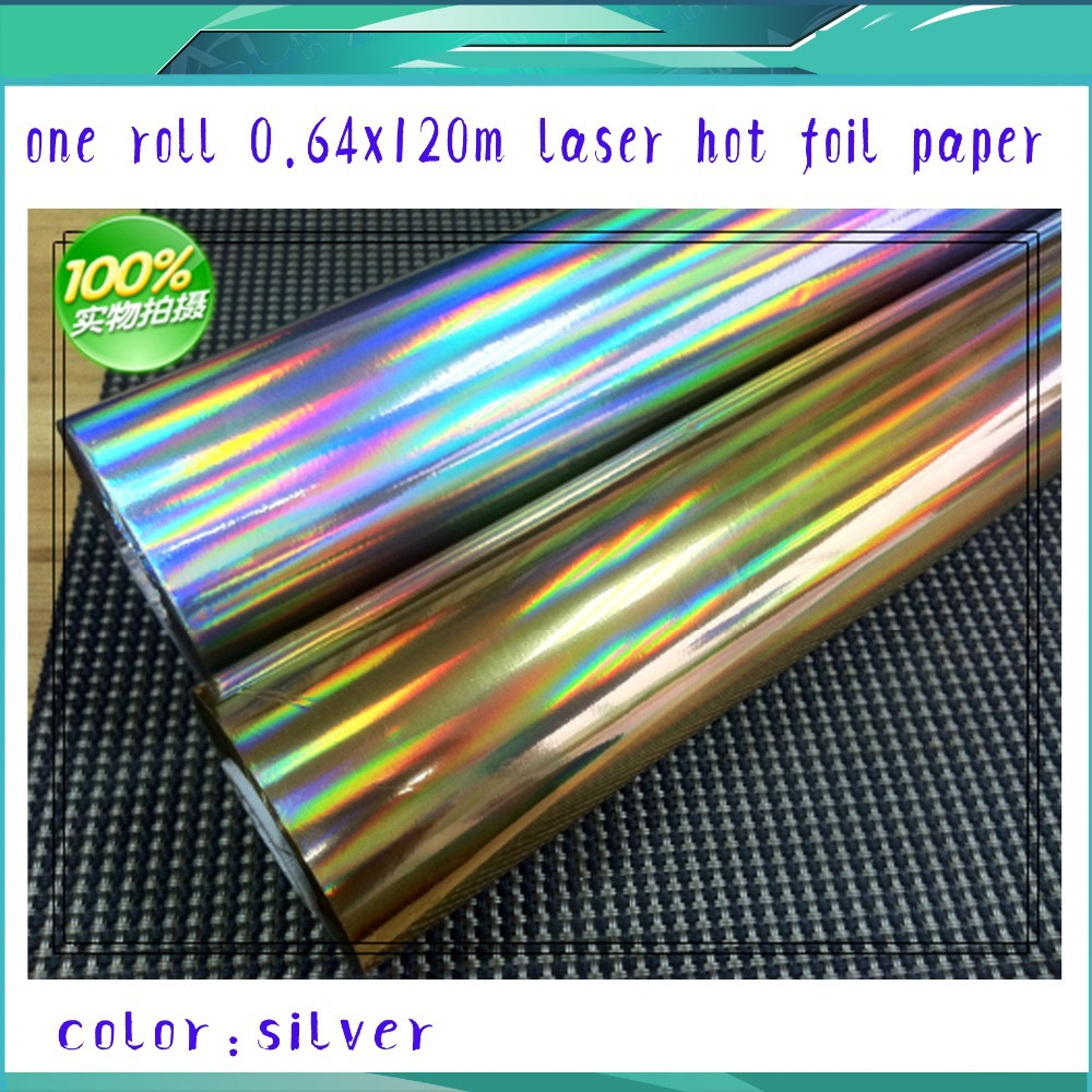 ФОТО One Roll (640mmx120m) Laser Silver Color Hot Stamping Foil Paper High Quality and Factory Price