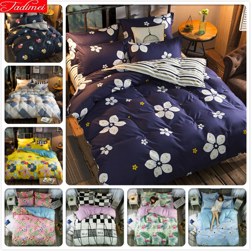 New Fashion Flower Pattern Duvet Cover 3/4 pcs Bedding Sets Adult Kids Child Soft Bed Linens Single Full Double Queen King Size
