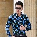 CE10-Outono L-6XL 7XL Homens Camisas Longas Da Luva 2017 Dos Homens Camisas Florais Camisa Havaiana Camisa Dos Homens Vestido De Camisas Parágrafos Hombre