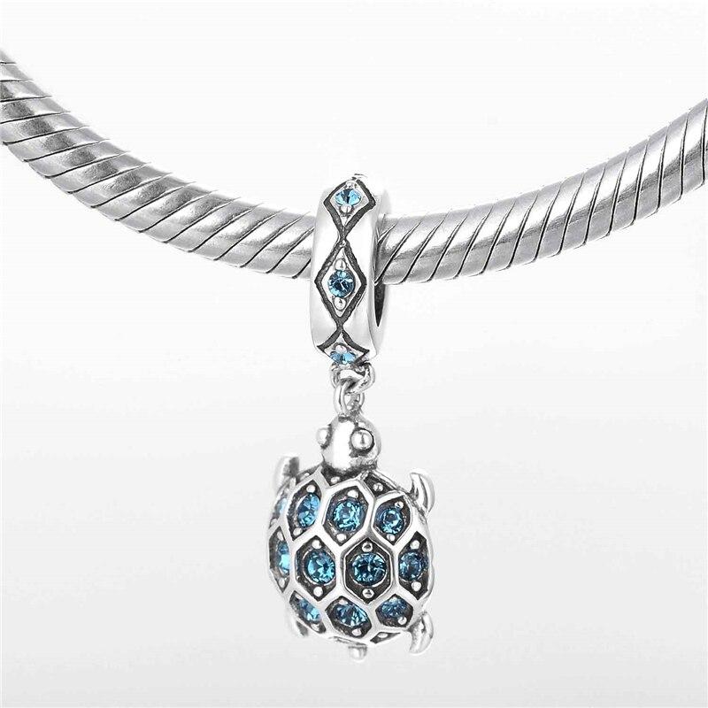 Silver 925 hänge smycken Animal European Charms With Sky Blue Cz - Fina smycken - Foto 4