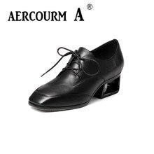 Aercourm a/осень 2017 г. Новая модная женская обувь кожа высокий каблук пикантные высокий каблук Дамская обувь, черный цвет/зеленого цвета женские Насосы