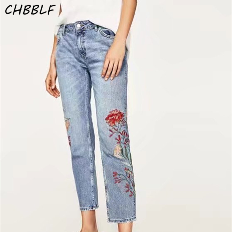 Spring summer new european embroidered jeans ladies denim