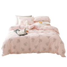 2018 Cute Pink Bunny Bedding Set Cotton Twin Queen Size 4Pcs Print Duvet Cover Flat Sheet/Fitted Sheet Pillow Cases
