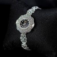 MetJakt винтажные кварцевые часы браслет с цирконом, цельный браслет из стерлингового серебра 925 пробы для женщин, роскошные тайские серебряны