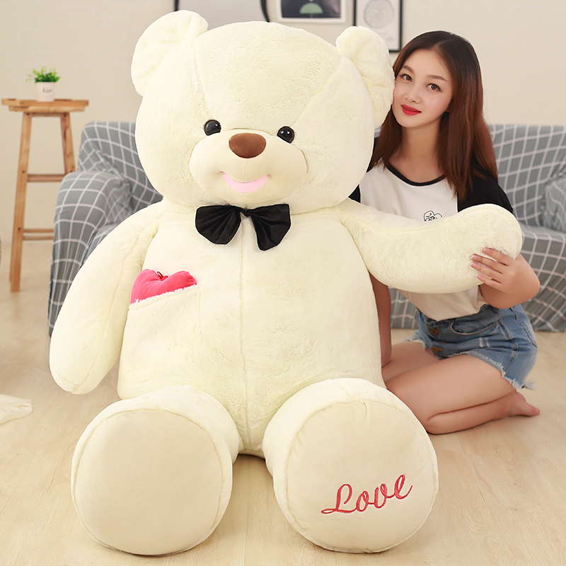 huge plush white Teddy bear toy new big bow bear doll birthday gift about 140cm new cute plush brown teddy bear toy pink heart and bow bear doll gift about 70cm
