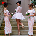 HOt Bridemaid Dress Pink Lace Appliques Middle East Cheap Sheath Wedding Dress For Guests Bruidsmeisjes Jurk 2017 Custom Made