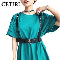CETIRI 2019 Brand Designer Women's Waist Belts PU Leather Adjustable Body Chest Harness Belt with Buckles Rings Punk Costumes
