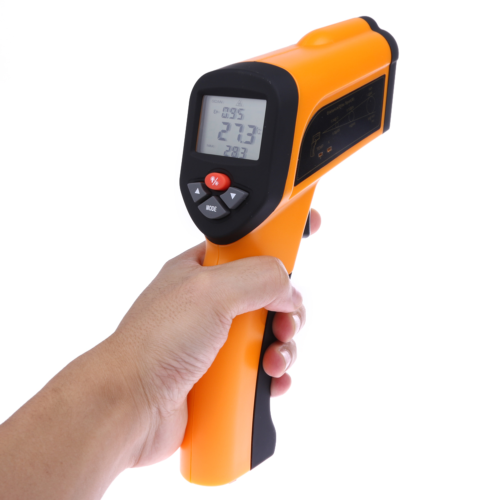 LCD Non-Contact  Infrared Thermometer Type-K Input Pyrometer Digital Laser Temperature Gauge Meter IR Point Gun -50 to 1650C 2017 bside btm21c infrared thermometer color digital non contact ir laser thermometer k type 30 500 led