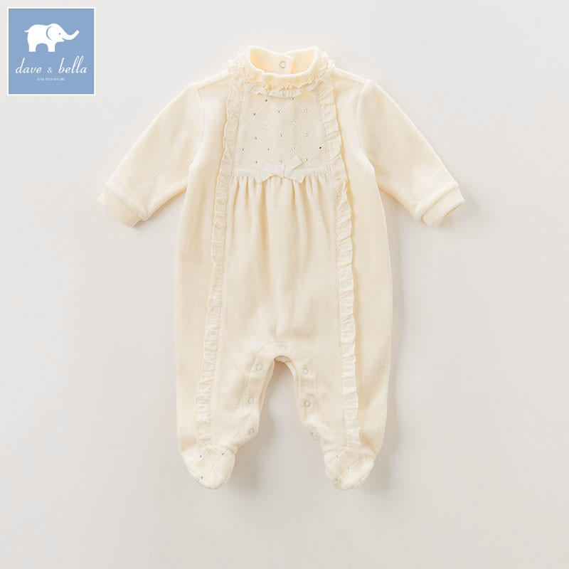 DB6051 dave bella autumn new born 0-12 month baby girls cotton romper infant clothes girls cute romper baby 1 piece dbm7508 dave bella summer baby girls new born cotton romper infant clothes cute children romper baby 1 piece
