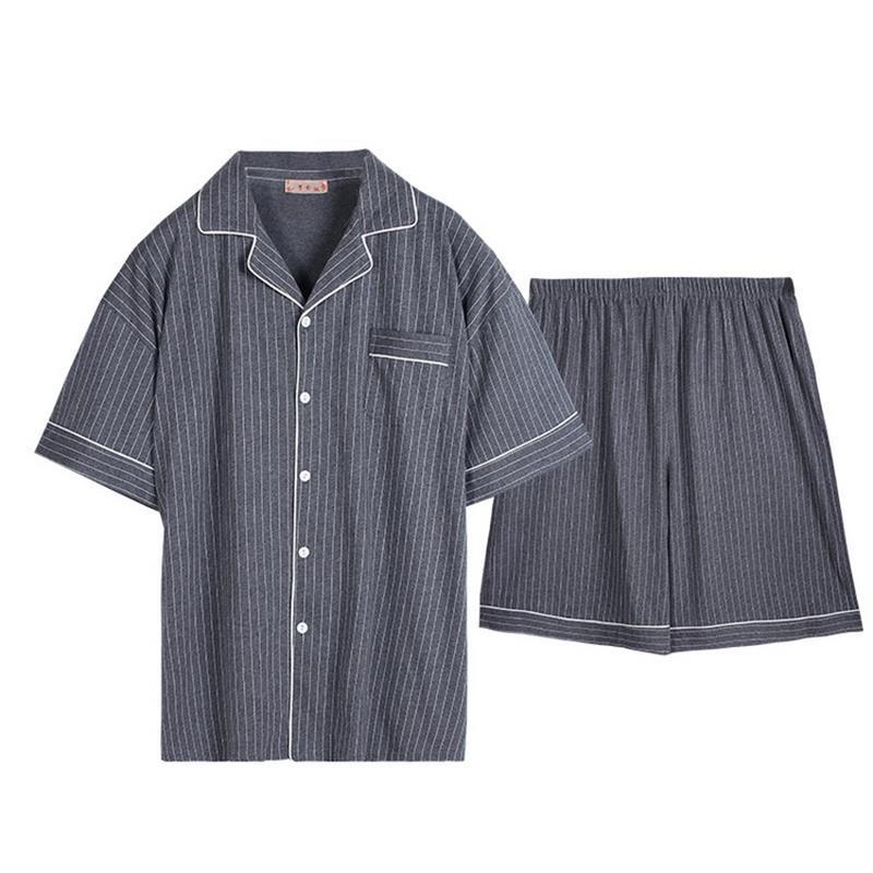 Friendly Free Shipping Mens Plus Size Short Sleeve Shorts Sleepwear Set Soft 100% Cotton Pajamas Nightgown Summer Homewear 5xl Turn Down Men's Sleep & Lounge