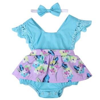 2 uds. Adorable mono de encaje Floral para recién nacidos y niñas ropa de verano sin mangas mono + diadema conjunto de una pieza