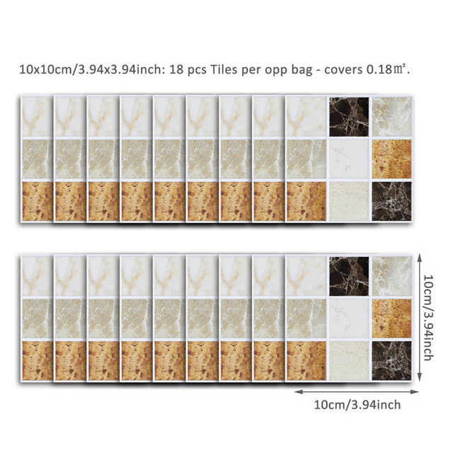 Self Adhesive Mosaic Tile Sticker Decor Waterproof Peel Stick Pvc Tiles Kitchen Backsplash Bathroom Wall Tile Stickers