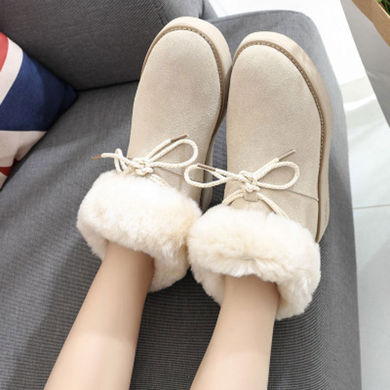 Women winter fashion solid snow boots female ankle boots with fur warm boot for woman casual shoes boots  footwear