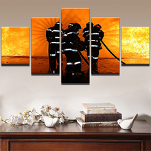 Modern Pictures Room HD Printed Poster Home Decor 5 Pieces Wall Art Frame Fireman Firefighting Landscape Canvas Painting