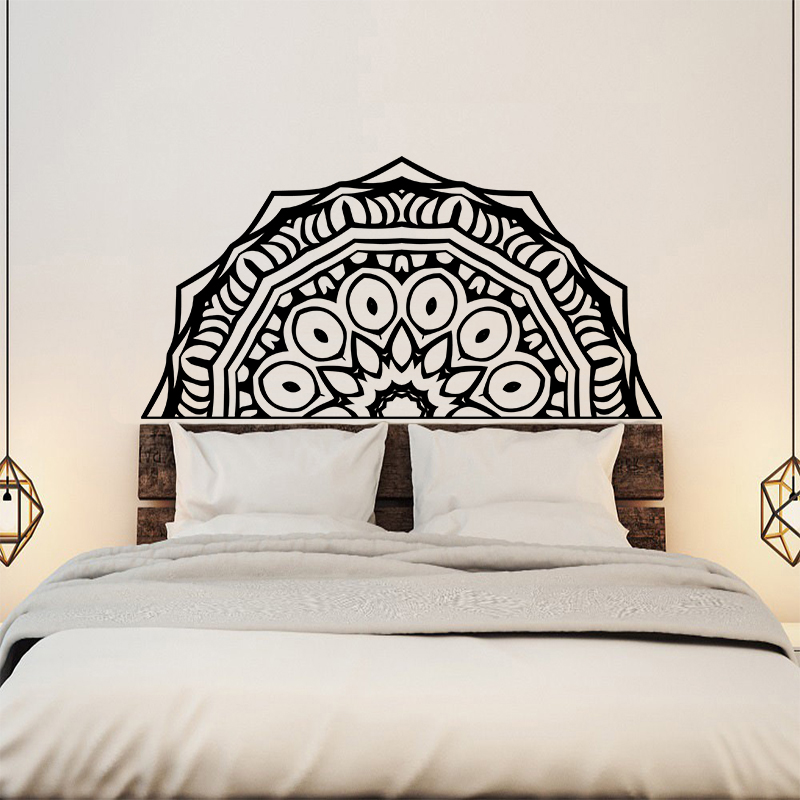 Creative Bedroom Wall Decor Brass Bed Bedroom Design Bedroom Design Black Bedroom Cupboards At Ikea: Creative Mandala Flower Wall Sticker Bed Headboard