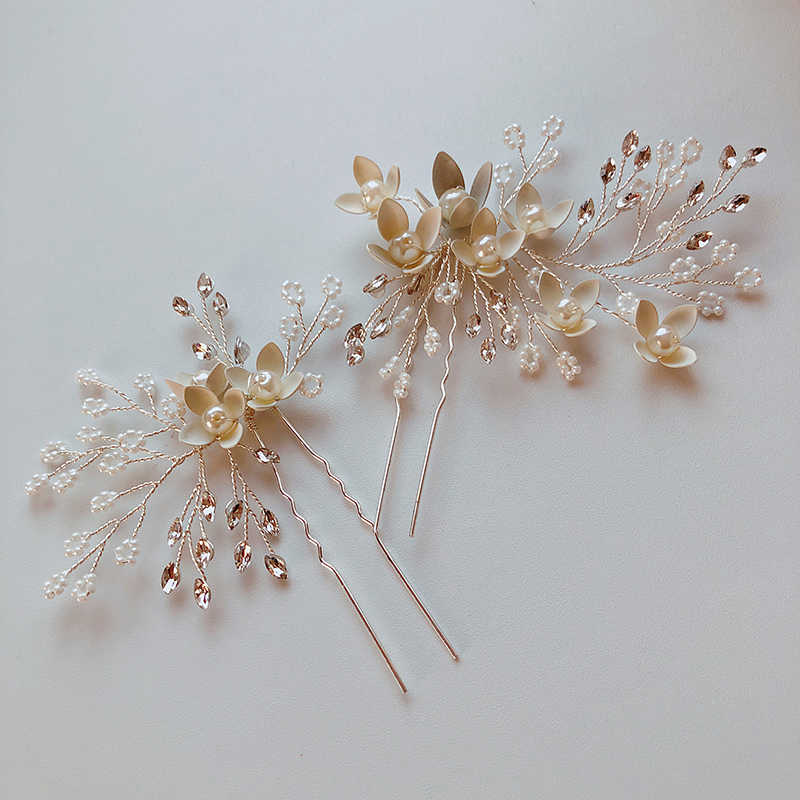 Dower me Hand Delicate Hair Fork Bridal Silver Pearls Hair Pins Jewelry Flower Wedding Headpiece Women Accessories