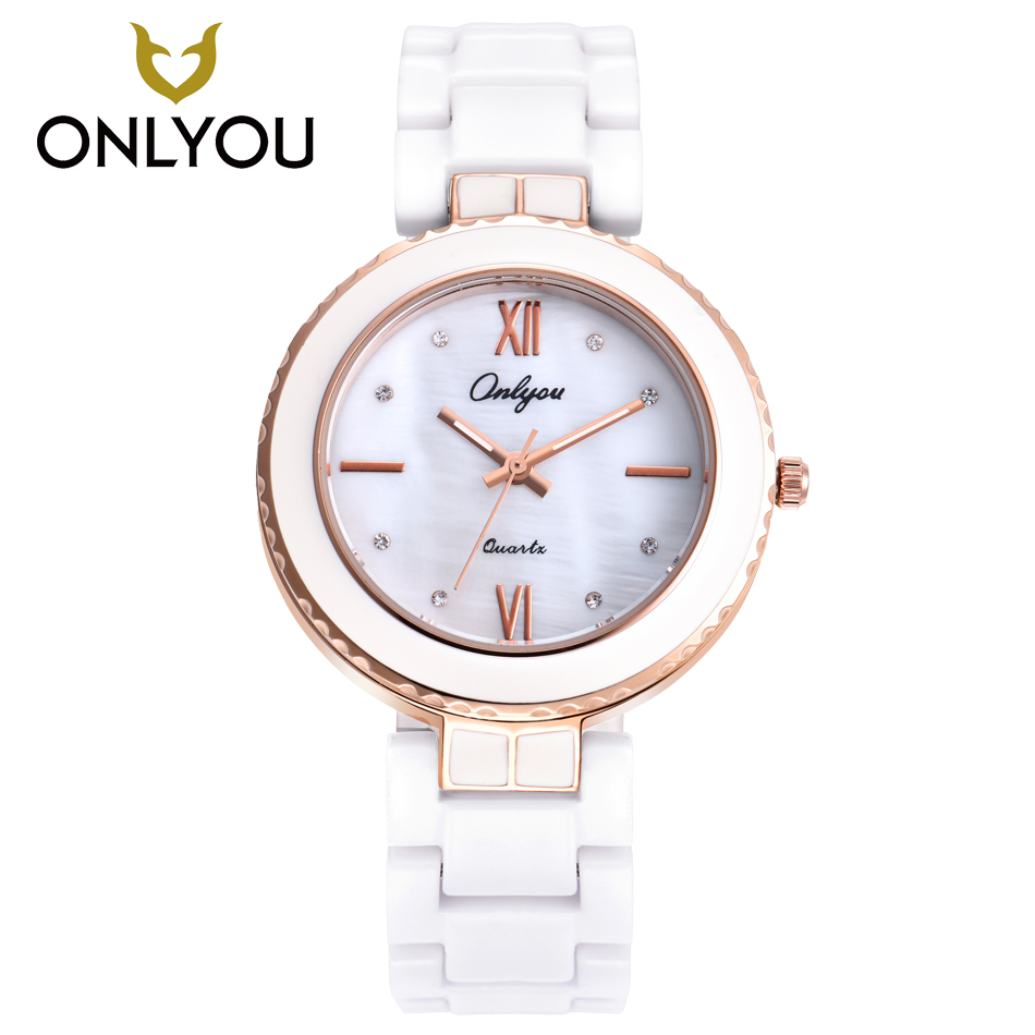 ONLYOU Women Watches Fashion Ceramic Watch Girls Elegant Bracelet Female Quartz Wristwatches Diamond Dress Clock White Unique