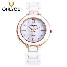 ONLYOU Для женщин часы моды Керамика часы для девочек элегантный браслет женский Кварцевые наручные часы алмаз платье часы Белый Уникальный