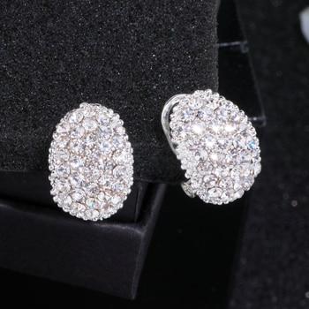 Classic Design Romantic Jewelry  Silver Color Zirconia Stone Stud Earrings Wedding Jewelry 4