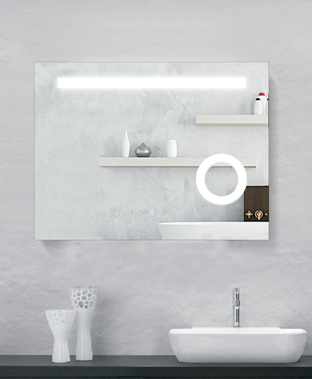 DIYHD Wall Mount Led Lighted Bathroom Mirror Vanity Defogger Square Lights Touch Light Mirror light mirror touch switch bathroom smart mirror switch led touch controller on mirror surface hot selling for hotel or bathroom