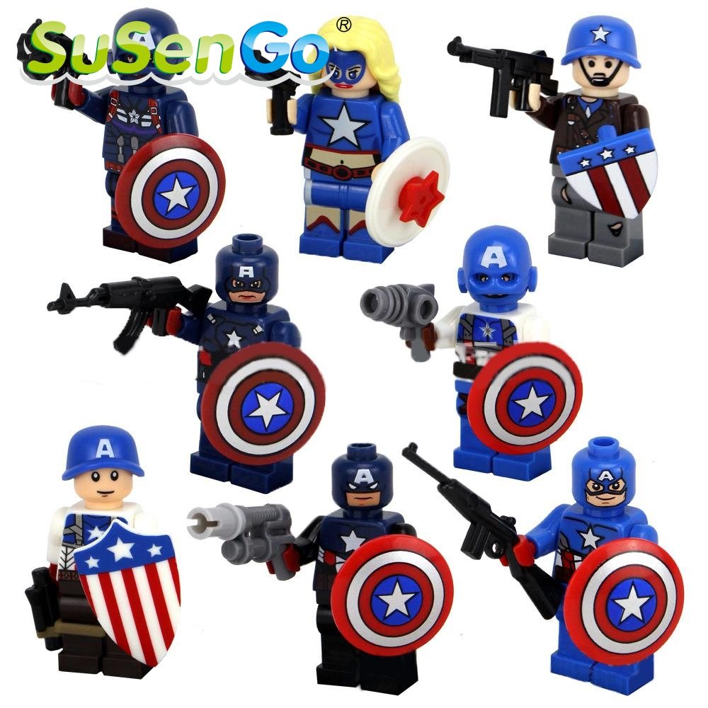 8pcs/lot Captain America Super Heroes Kid Baby Toy Figure Building Blocks Sets Model Toys Figures Brick Compatible with Lego
