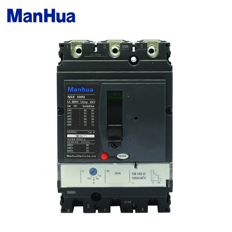Manhua 3 Phase 100A NSX-100N Short Circuit Overload Protection Molded Case Circuit Breaker wcs1600 hall current sensors measuring 100a short circuit overcurrent protection module