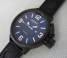 Reloj de edición limitada 50mm PARNIS dial Grande reloj mecánico Automático de los hombres relojes caja de reloj PVD negro 276