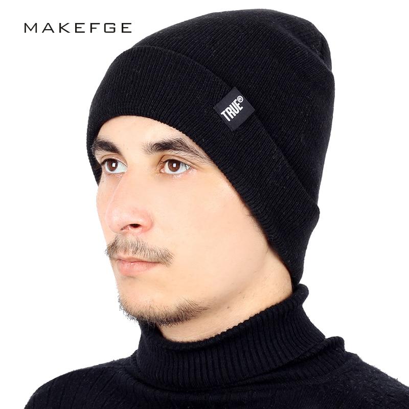 Fashion TRUE Brand Knit Beanie Hat Solid Color High Quality Winter Hat Man  Woman Warm Soft Cap Skullies Bone Black Ski Sport-in Skullies   Beanies  from ... 107856a711f5