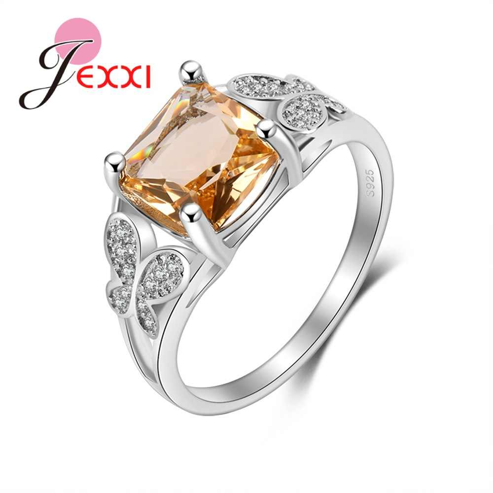 Good Selling New Arrival Clear Orange Rectangle Cubic Zirconia Butterfly Shape Rhinestone 925 Sterling Silver For Women