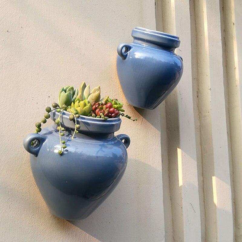 keramičke zidne plantaže planters za succulents plave keramičke - Vrtni proizvodi - Foto 4