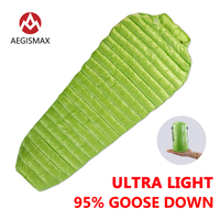AEGISMAX Outdoor Camping Ultralight 95 Goose Down Mummy Sleeping Bag Three Season Down Sleeping Bag Outdoor