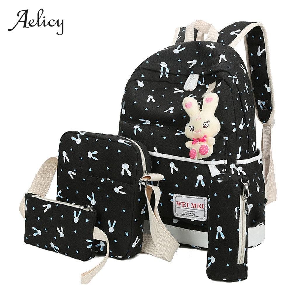 Aelicy Luxury 4 Sets Women Girl Rabbit Animals Travel Backpack School Bag Shoulder Bag Rugzak Sac A Dos Mochila Feminina