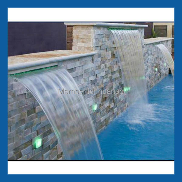 Swimming Pool Waterfall Plastic Led Water Feature