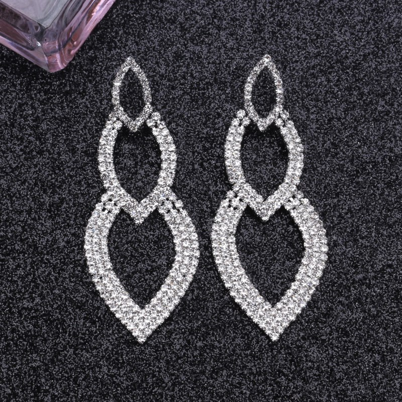 EK511 European and American <font><b>Sexy</b></font> Temperament Big Drop <font><b>Earrings</b></font> <font><b>Long</b></font> Tassel Rhinestone <font><b>Earrings</b></font> Exaggerated Nightclub <font><b>Earring</b></font> image