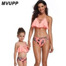 f067fcb59 Familia juego ropa de la madre y la hija traje de baño para mami me trajes  mamá bebé conjunto de bikini de cintura alta de traje.