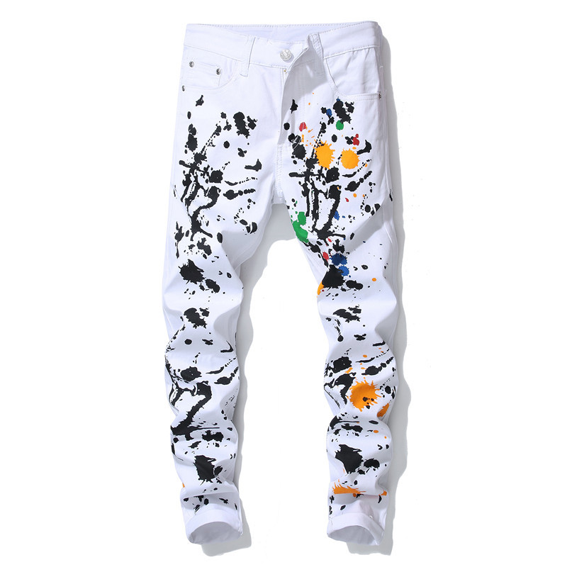 Idopy Casual Men's Jeans Male Printed Stright Fit Stretchy Denim Pants Brand Designer Night Club Hip Hop Jean Trousers For Men
